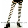 Opaque wide striped thigh highs